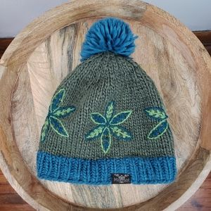 Marmot Wool Floral Embroidered Pom Beanie